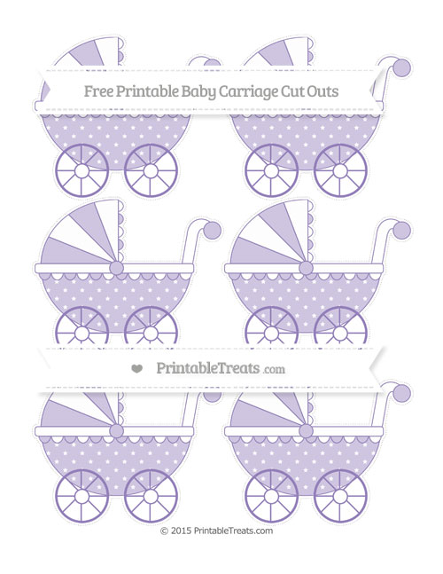 Free Pastel Dark Plum Star Pattern Small Baby Carriage Cut Outs