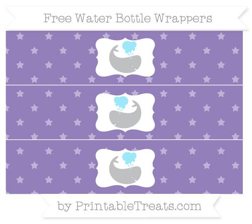 Free Pastel Dark Plum Star Pattern Whale Water Bottle Wrappers