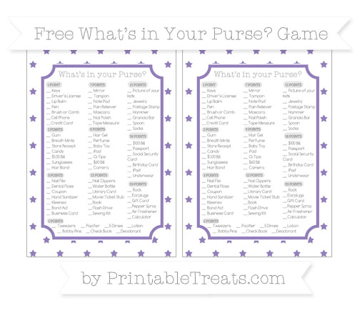Free Pastel Dark Plum Star Pattern What's in Your Purse Baby Shower Game