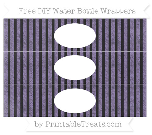 Free Pastel Dark Plum Striped Chalk Style DIY Water Bottle Wrappers