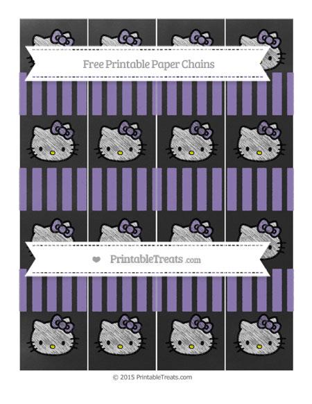 Free Pastel Dark Plum Striped Chalk Style Hello Kitty Paper Chains