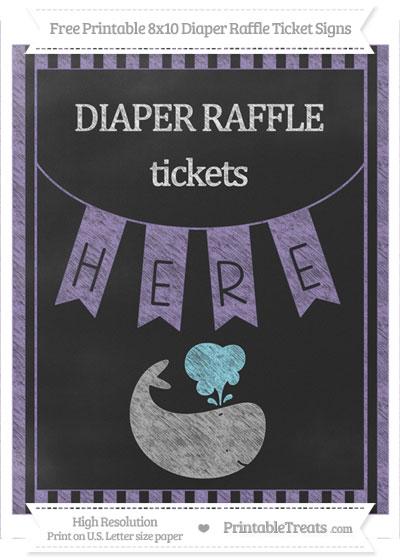 Free Pastel Dark Plum Striped Chalk Style Whale 8x10 Diaper Raffle Ticket Sign