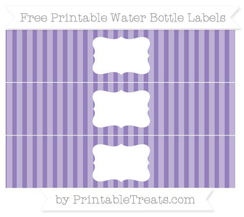 Free Pastel Dark Plum Striped Water Bottle Labels