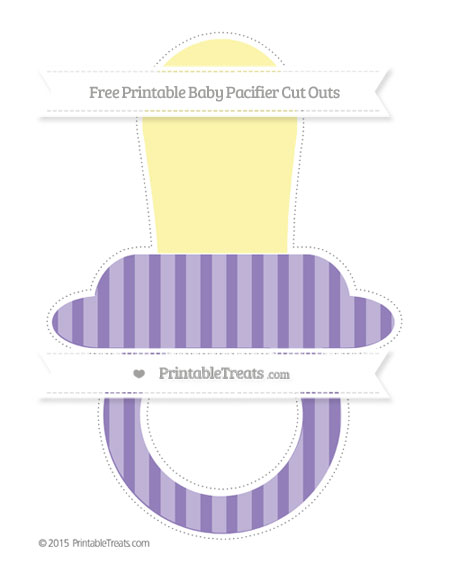 Free Pastel Dark Plum Striped Extra Large Baby Pacifier Cut Outs