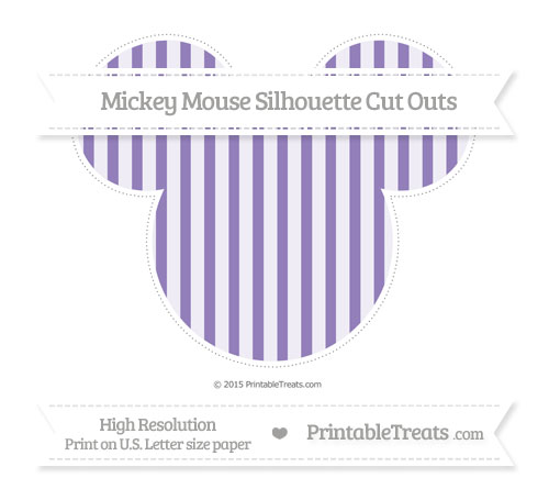 Free Pastel Dark Plum Striped Extra Large Mickey Mouse Silhouette Cut Outs
