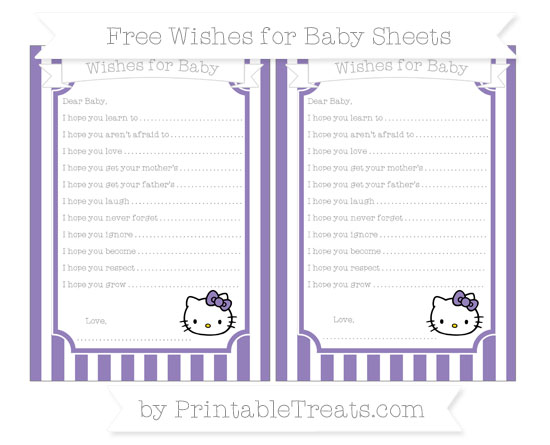 Free Pastel Dark Plum Striped Hello Kitty Wishes for Baby Sheets