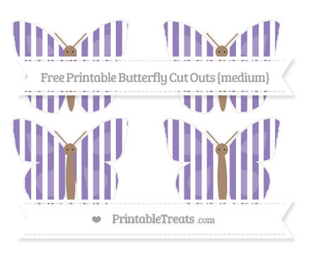 Free Pastel Dark Plum Striped Medium Butterfly Cut Outs
