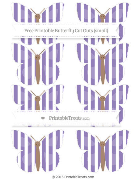 Free Pastel Dark Plum Striped Small Butterfly Cut Outs