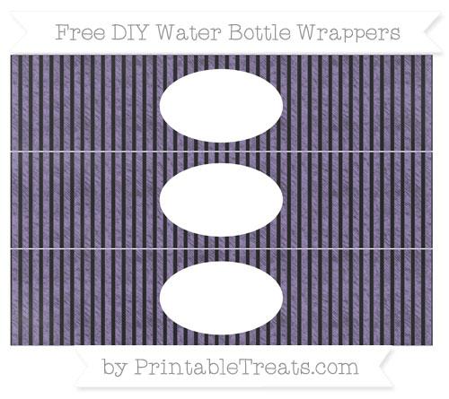 Free Pastel Dark Plum Thin Striped Pattern Chalk Style DIY Water Bottle Wrappers
