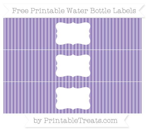 Free Pastel Dark Plum Thin Striped Pattern Water Bottle Labels