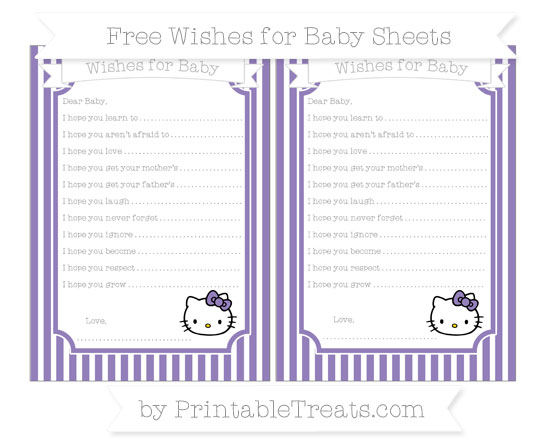 Free Pastel Dark Plum Thin Striped Pattern Hello Kitty Wishes for Baby Sheets