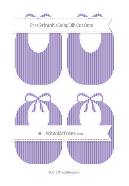 Free Pastel Dark Plum Thin Striped Pattern Medium Baby Bib Cut Outs