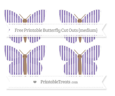 Free Pastel Dark Plum Thin Striped Pattern Medium Butterfly Cut Outs