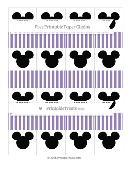Free Pastel Dark Plum Thin Striped Pattern Mickey Mouse Paper Chains