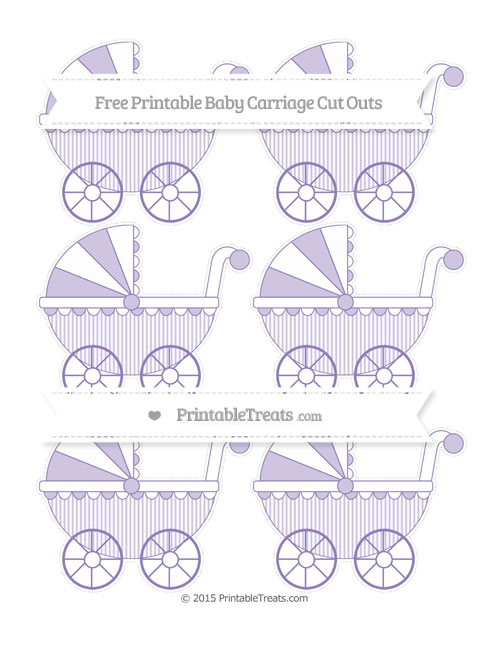 Free Pastel Dark Plum Thin Striped Pattern Small Baby Carriage Cut Outs