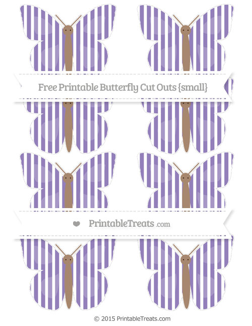 Free Pastel Dark Plum Thin Striped Pattern Small Butterfly Cut Outs