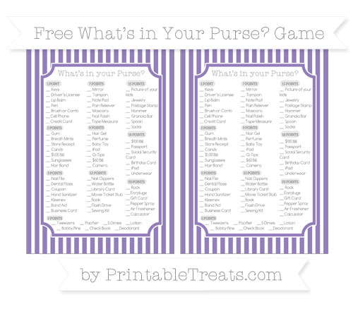 Free Pastel Dark Plum Thin Striped Pattern What's in Your Purse Baby Shower Game