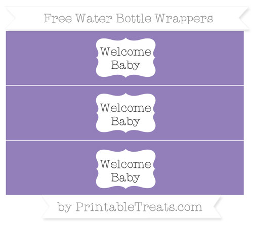 Free Pastel Dark Plum Welcome Baby Water Bottle Wrappers