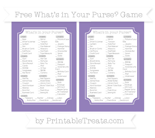 Free Pastel Dark Plum What's in Your Purse Baby Shower Game