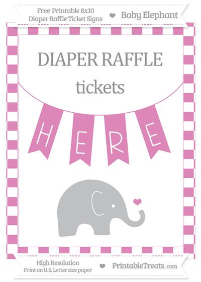 Free Pastel Fuchsia Checker Pattern Baby Elephant 8x10 Diaper Raffle Ticket Sign