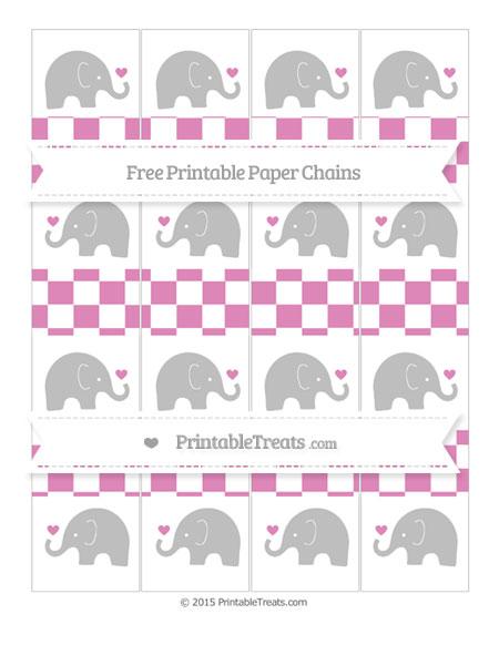 Free Pastel Fuchsia Checker Pattern Baby Elephant Paper Chains