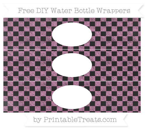 Free Pastel Fuchsia Checker Pattern Chalk Style DIY Water Bottle Wrappers