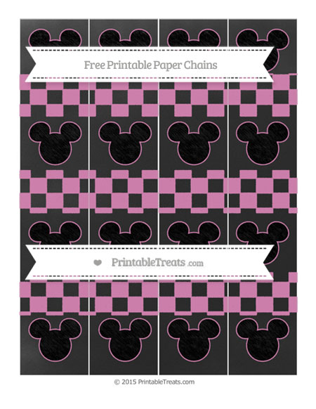 Free Pastel Fuchsia Checker Pattern Chalk Style Mickey Mouse Paper Chains