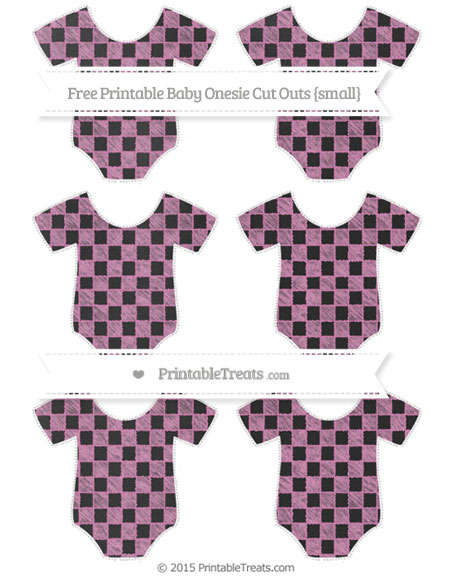 Free Pastel Fuchsia Checker Pattern Chalk Style Small Baby Onesie Cut Outs