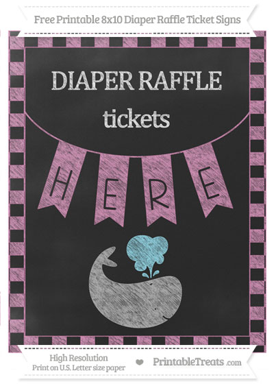Free Pastel Fuchsia Checker Pattern Chalk Style Whale 8x10 Diaper Raffle Ticket Sign