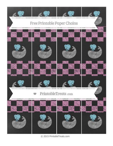 Free Pastel Fuchsia Checker Pattern Chalk Style Whale Paper Chains