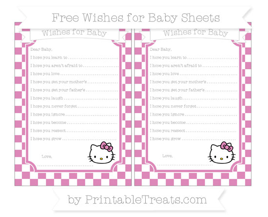 Free Pastel Fuchsia Checker Pattern Hello Kitty Wishes for Baby Sheets