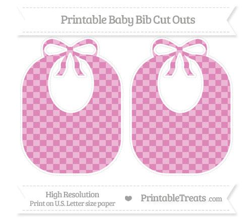 Free Pastel Fuchsia Checker Pattern Large Baby Bib Cut Outs