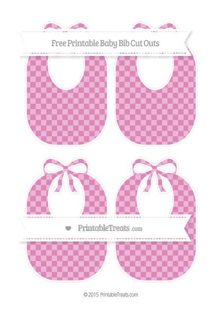 Free Pastel Fuchsia Checker Pattern Medium Baby Bib Cut Outs