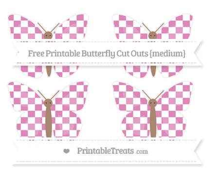 Free Pastel Fuchsia Checker Pattern Medium Butterfly Cut Outs