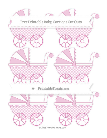 Free Pastel Fuchsia Checker Pattern Small Baby Carriage Cut Outs