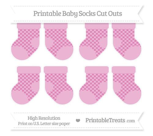 Free Pastel Fuchsia Checker Pattern Small Baby Socks Cut Outs