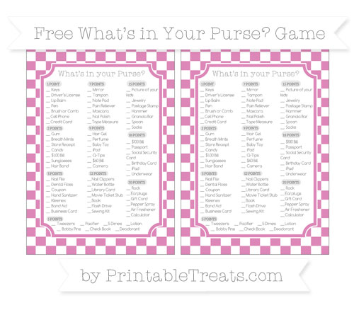 Free Pastel Fuchsia Checker Pattern What's in Your Purse Baby Shower Game