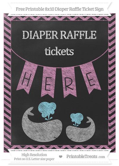 Free Pastel Fuchsia Chevron Chalk Style Baby Whale 8x10 Diaper Raffle Ticket Sign