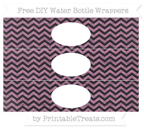Free Pastel Fuchsia Chevron Chalk Style DIY Water Bottle Wrappers