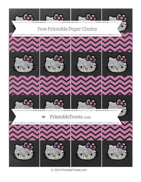 Free Pastel Fuchsia Chevron Chalk Style Hello Kitty Paper Chains