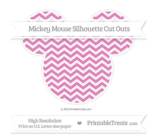 Free Pastel Fuchsia Chevron Extra Large Mickey Mouse Silhouette Cut Outs
