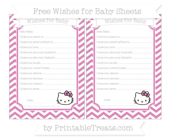 Free Pastel Fuchsia Chevron Hello Kitty Wishes for Baby Sheets