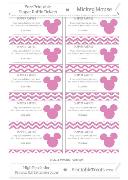 Free Pastel Fuchsia Chevron Mickey Mouse Theme Diaper Raffle Tickets