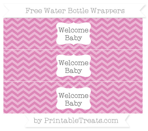 Free Pastel Fuchsia Chevron Welcome Baby Water Bottle Wrappers