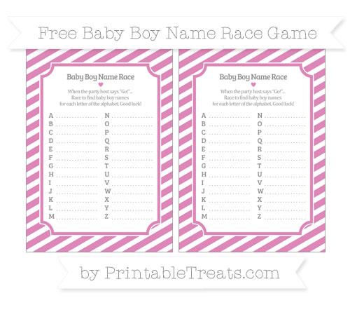 Free Pastel Fuchsia Diagonal Striped Baby Boy Name Race Game