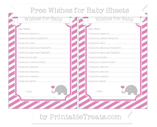 Free Pastel Fuchsia Diagonal Striped Baby Elephant Wishes for Baby Sheets