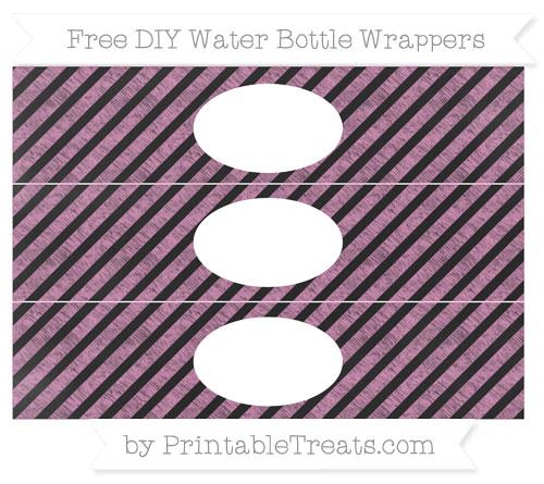 Free Pastel Fuchsia Diagonal Striped Chalk Style DIY Water Bottle Wrappers