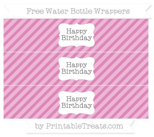 Free Pastel Fuchsia Diagonal Striped Happy Birhtday Water Bottle Wrappers