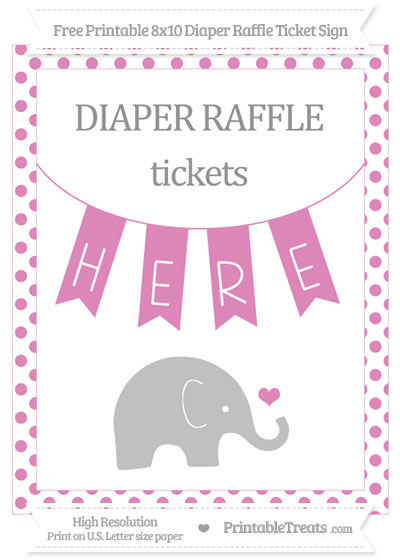 Free Pastel Fuchsia Dotted Baby Elephant 8x10 Diaper Raffle Ticket Sign
