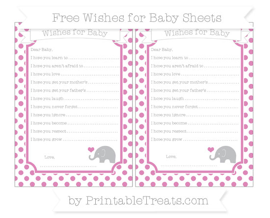 Free Pastel Fuchsia Dotted Pattern Baby Elephant Wishes for Baby Sheets